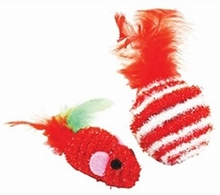 Happy Pet Tinsel Speelset Bal en Muis met Veren OP=OP